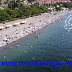 Пляж Канакской балки (Канаки). Теневые навесы на территории пляжа пансионата Волга.